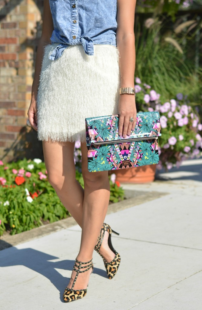 white fur skirt