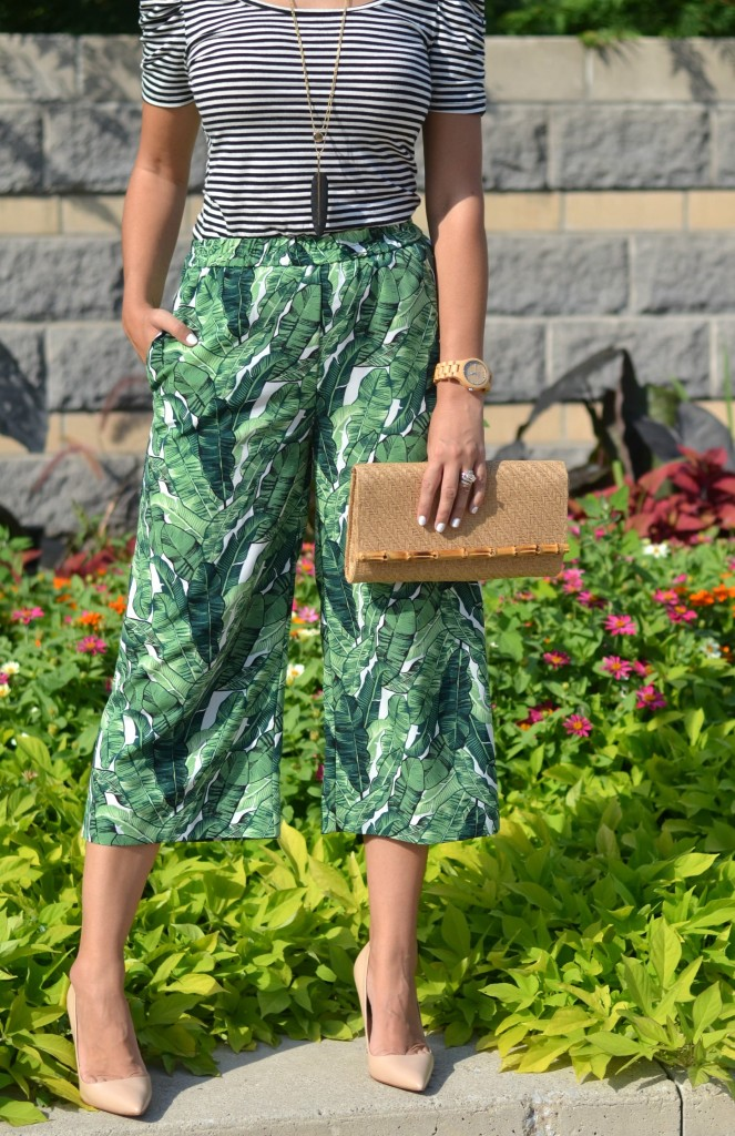 palm tree printed pants