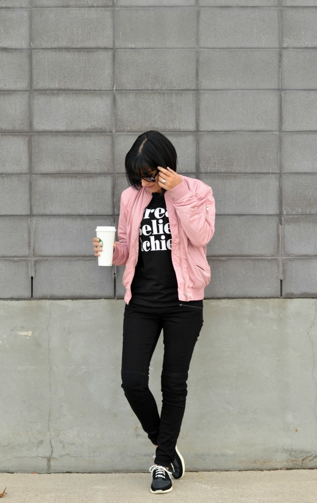 H&M Pink Jacket, starbucks red cups