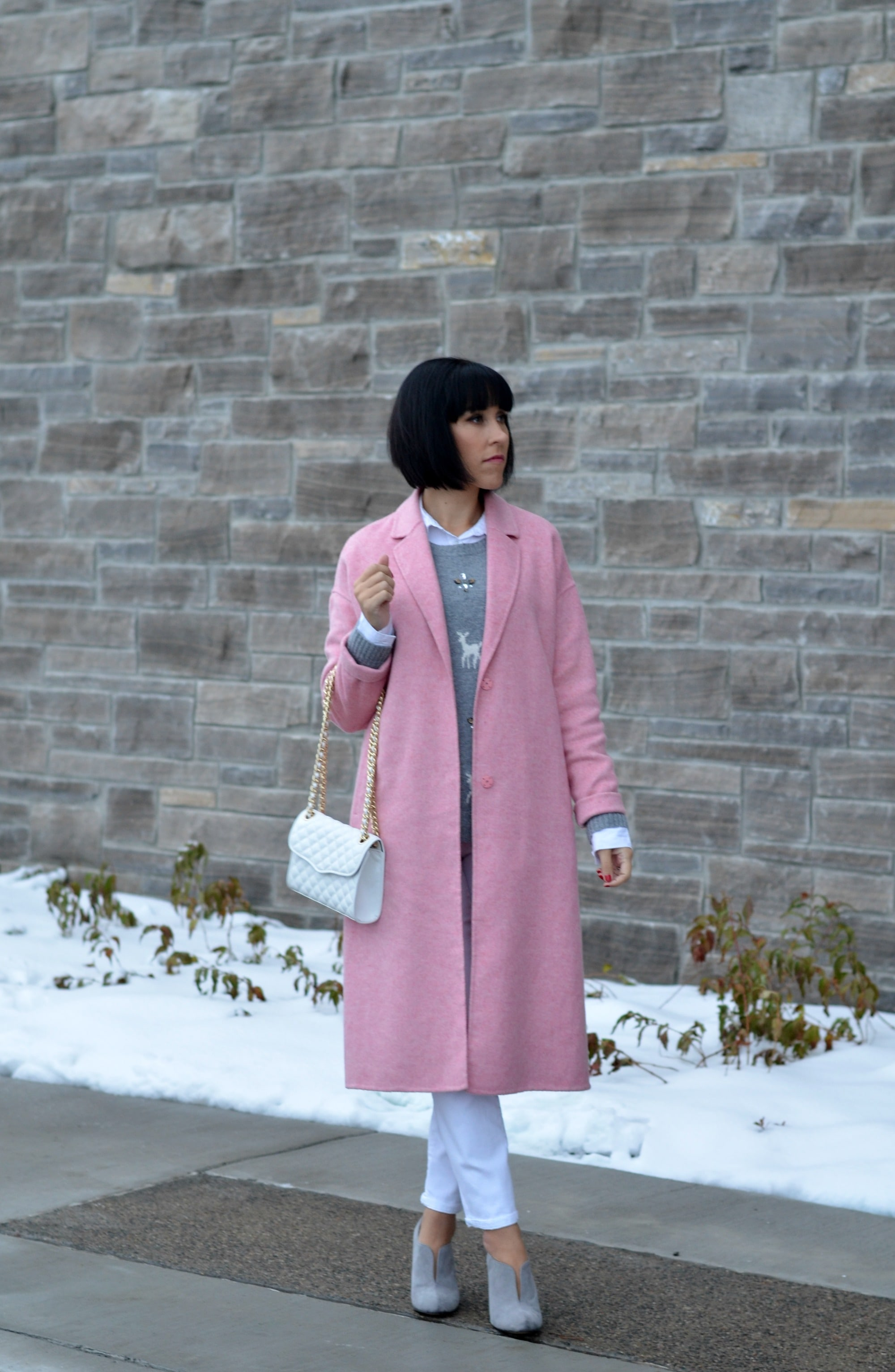 pink coat in winter