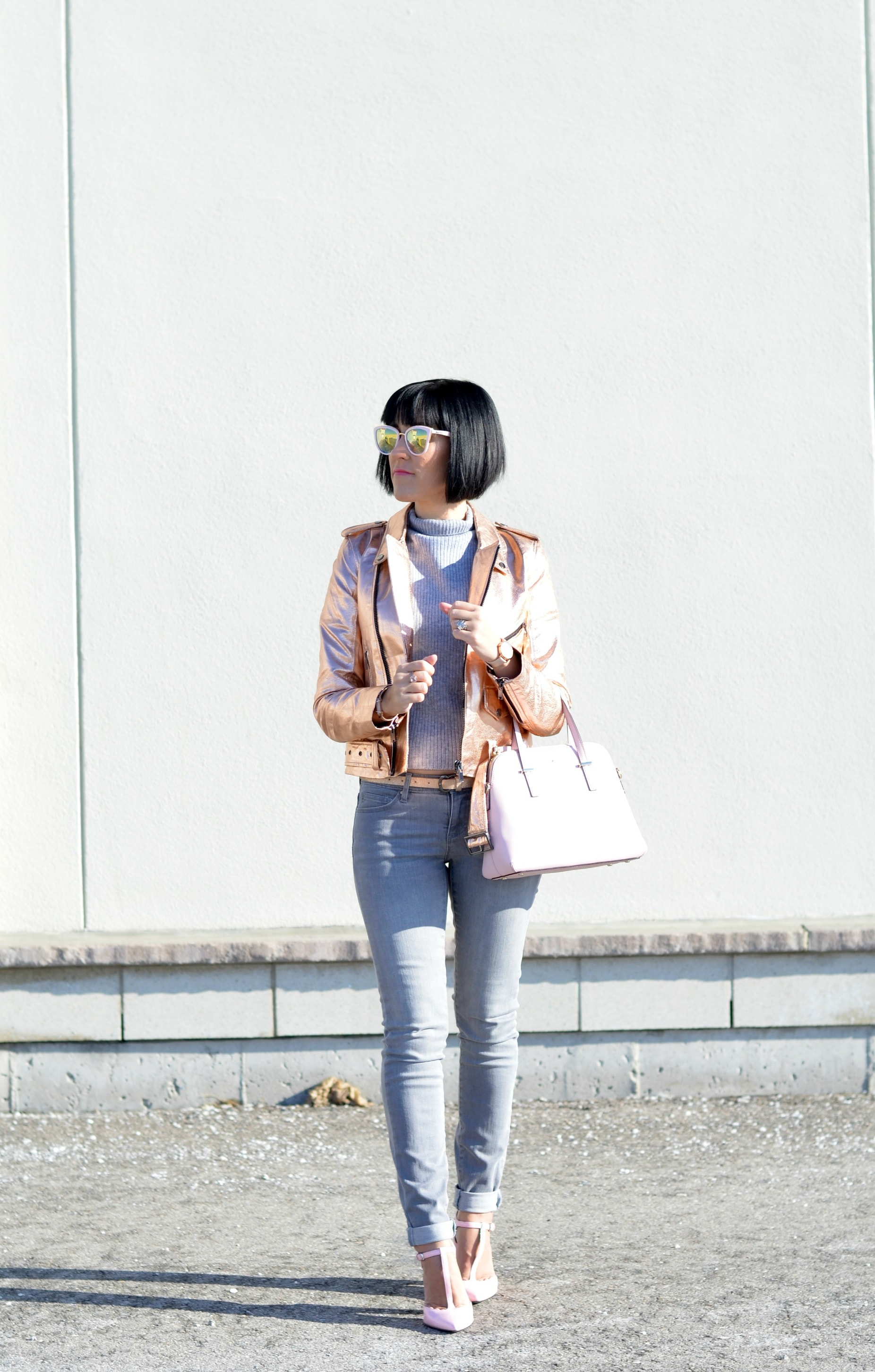 How to style a rose gold bomber jacket