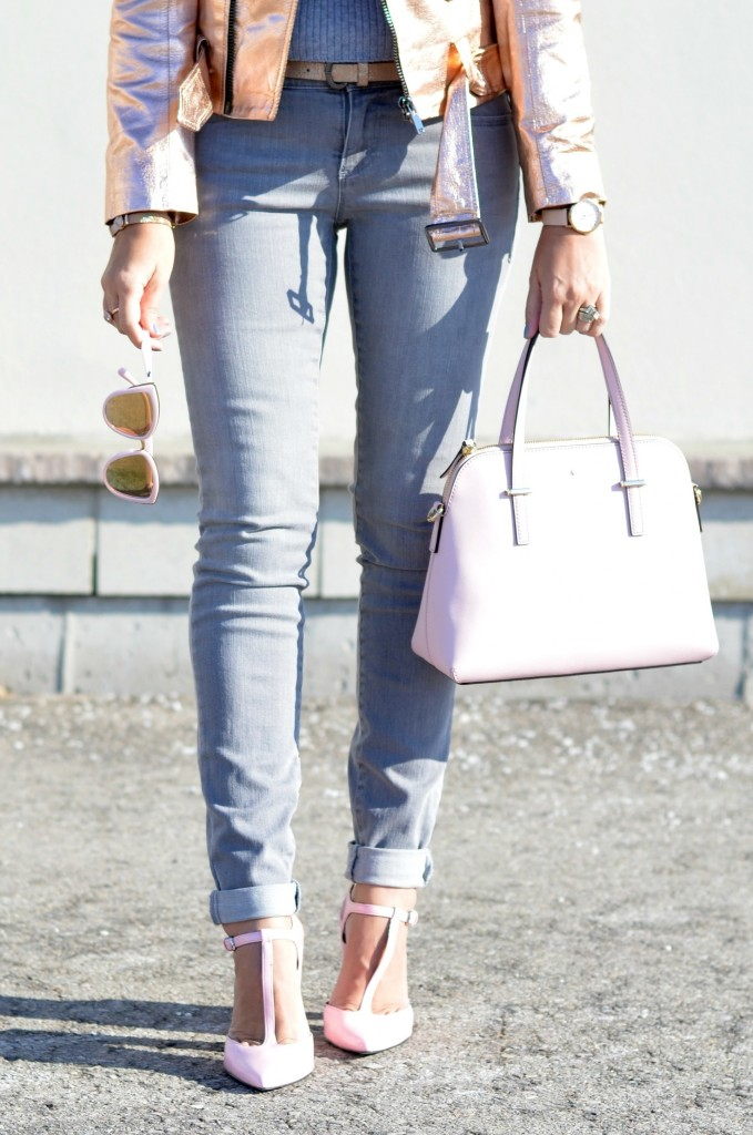 rose gold bomber, zara woman, grey jeans, pink purse, kate spade purse, rose gold watch