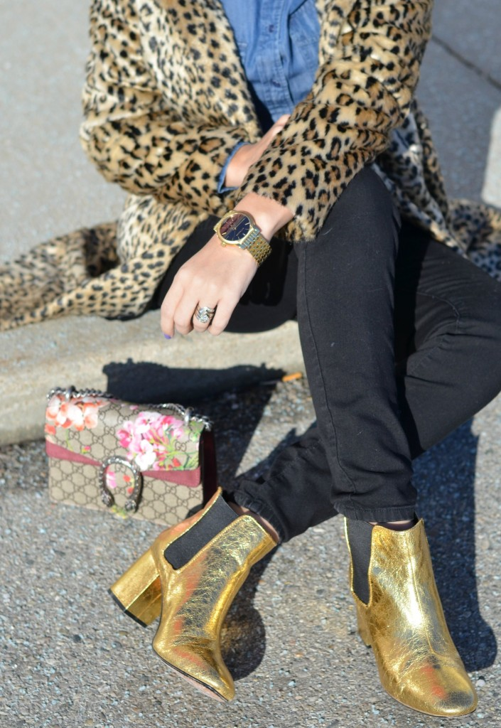 gold boots, gold booties, H&M boots, gold metallic boots, H&M boots