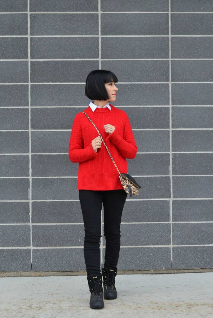 red sweater, red cable knit sweater, red h&M sweater, H&M sweater