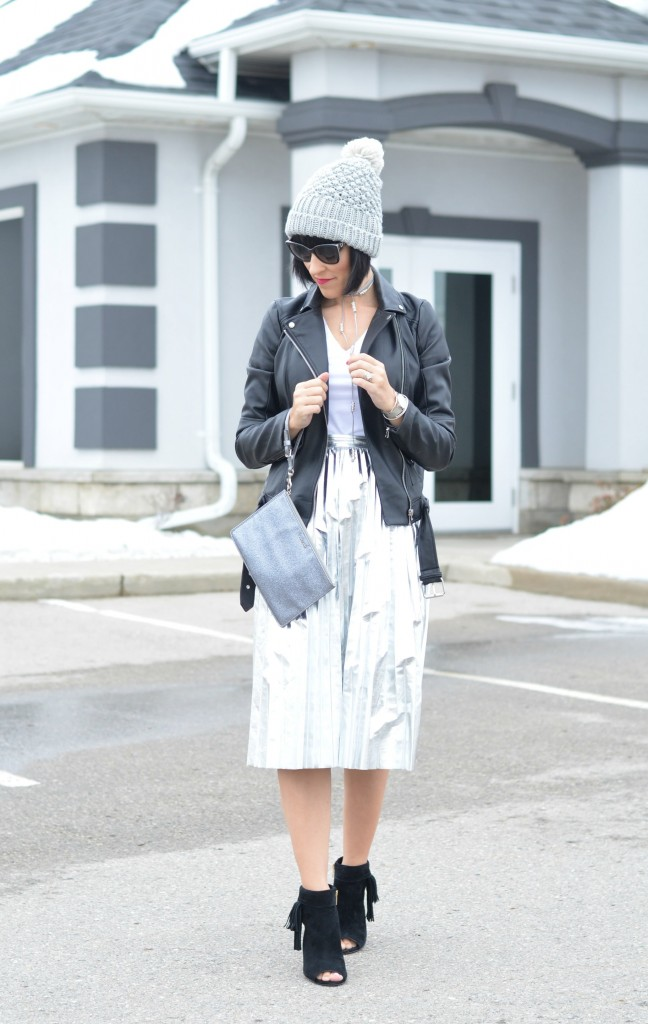 The Shiny Metallic Pleated Skirt You Need