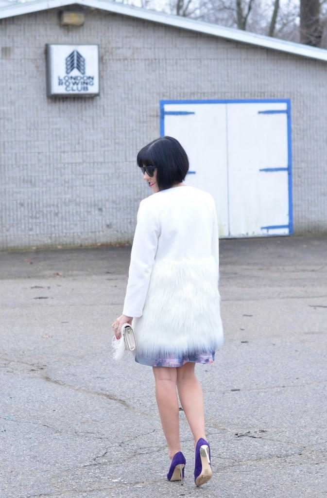 white coat, floral dress, nine west pumps, nine west canada, purple shoes, purple pumps