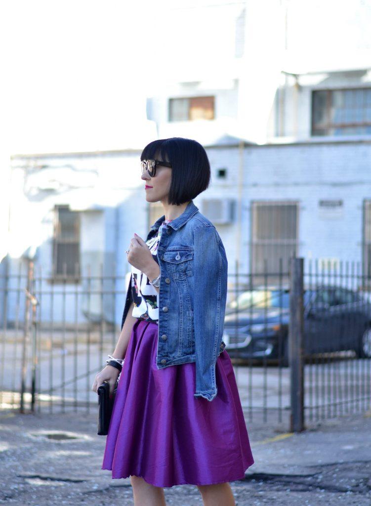 Purple Full Midi Skirt