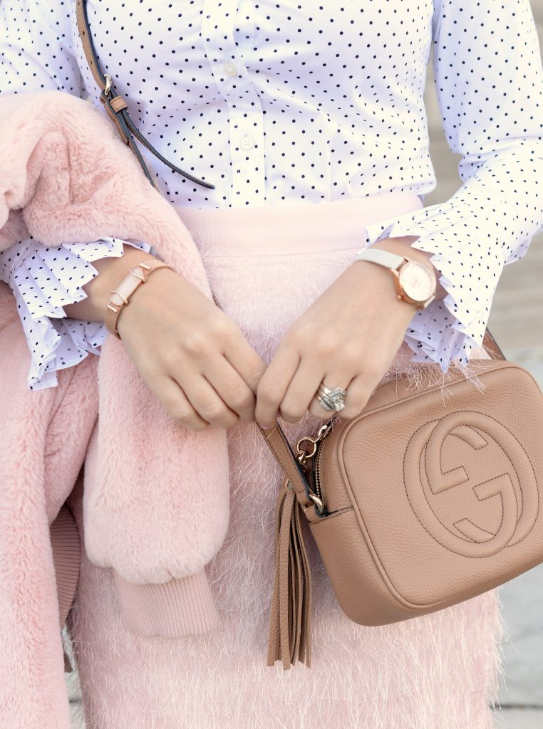banana republic, gucci purse, forever 21 glasses, pink bomber jacket