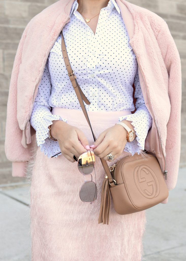 banana republic, gucci purse, forever 21 glasses, pink bomber jacket