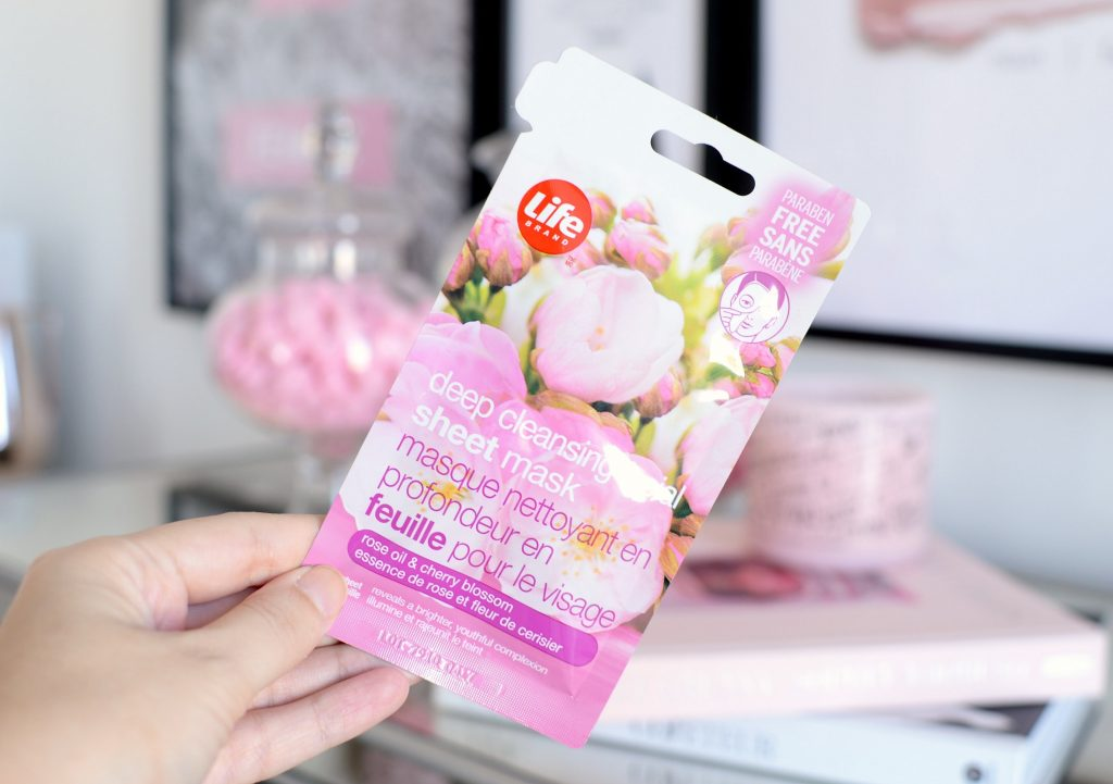 Life Brand Deep Cleansing Facial Sheet Mask with Rose Oil and Cherry Blossom