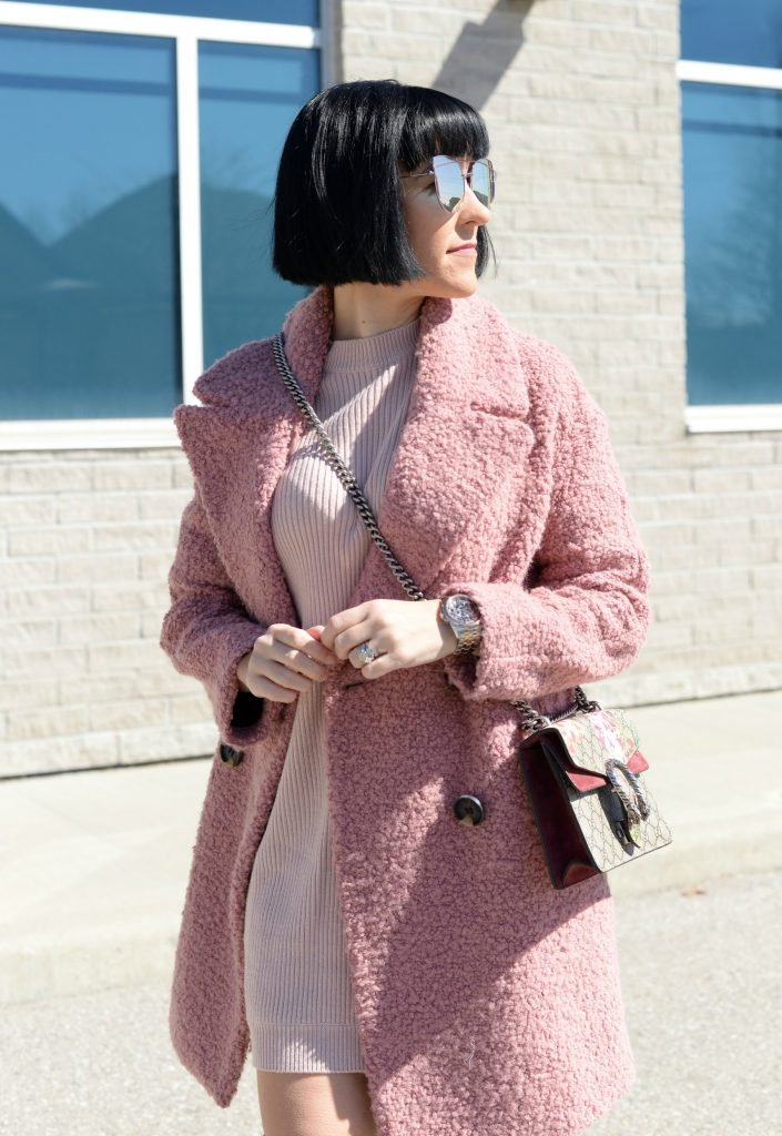 tobi dress, pink sweater dress, pink dress, topshop coat, teddybear coat, over-the-knee boots, steve madden boots