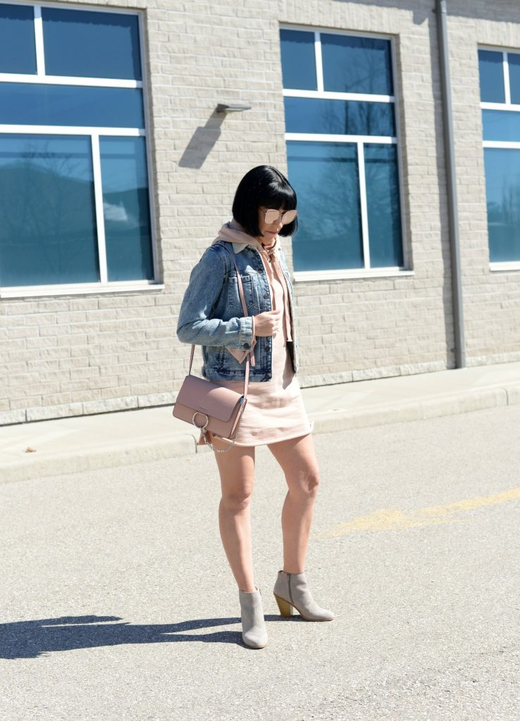 tobi dress, pink dress, sweater dress, how to style a sweater dress, Tobi Pink Sweater Hoodie Hooded Dress, hooded dress