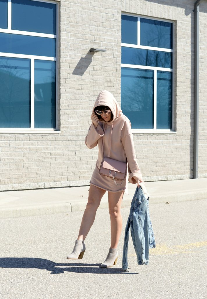 tobi dress, pink dress, sweater dress, how to style a sweater dress, Tobi Pink Sweater Hoodie Hooded Dress, hooded dress