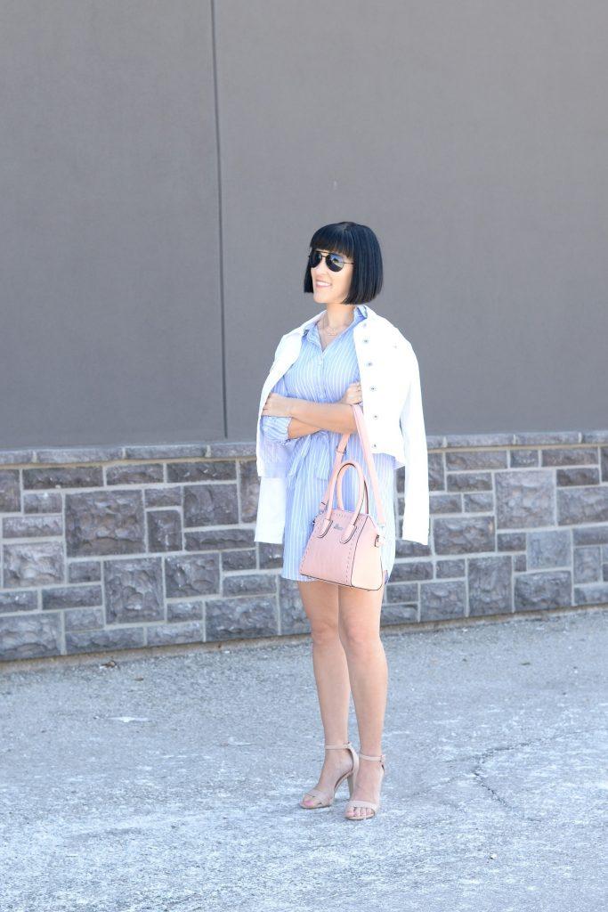 giant tiger, striped dress, blue pinstriped dress, white denim jacket, pink purse, pink handbag, nude heels, nude sandals, canadian fashion blogger