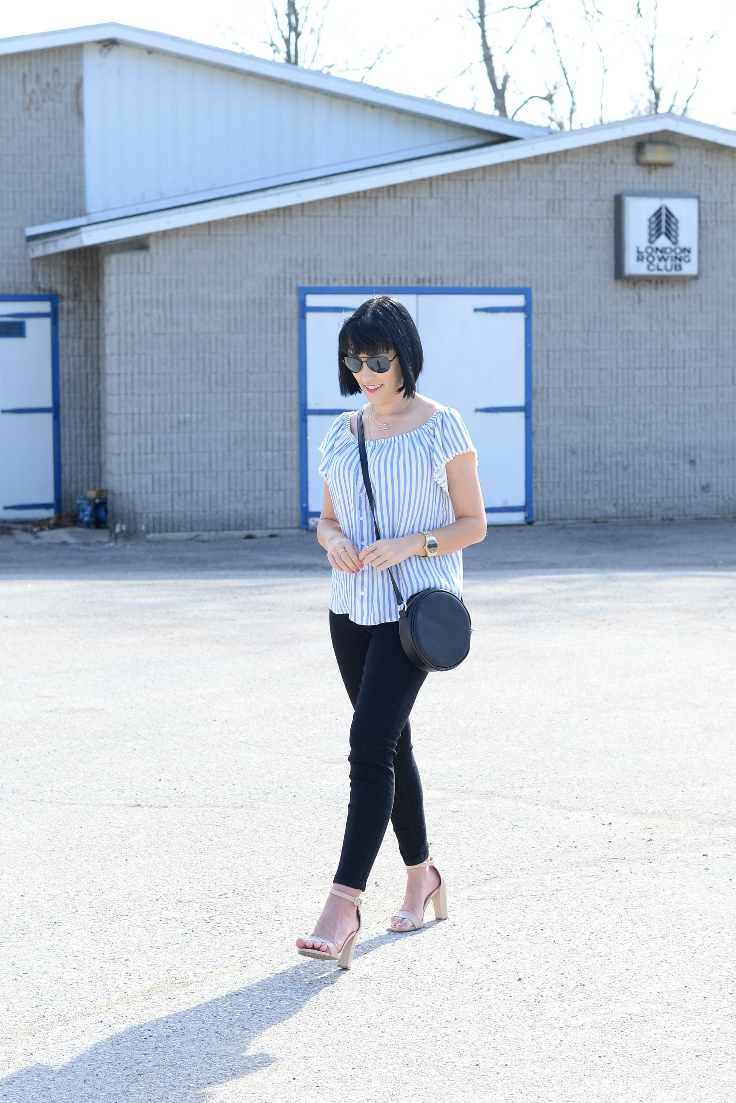 Giant Tiger, off-the-shoulder blouse, black skinny jeans, open-toed nude heels, nude sandals, black circle bag, black purse, stripped blouse, springtime blouse
