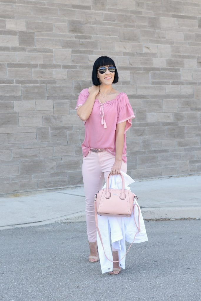 giant tiger, pink on pink, pink outfit, sprinttime outfit, monocromatic outfit, pink jeans, nude heels, nude sandals, canadian fashion blogger