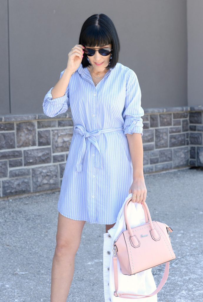 giant tiger, striped dress, blue pinstriped dress, white denim jacket, pink purse, pink handbag, nude heels, nude sandals, canadian fashion blogger