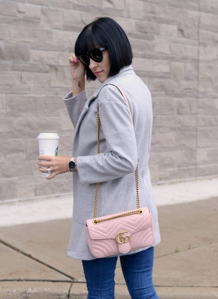 Spring Fashion Trends, zara blouse, grey cardigan, how to style a cardigan, Gucci marmont, pink Gucci purse, pink purse, celine sunglasses, Daniel wellington watch, gap skinny jeans, Jeffery campbell shoes, pink booties