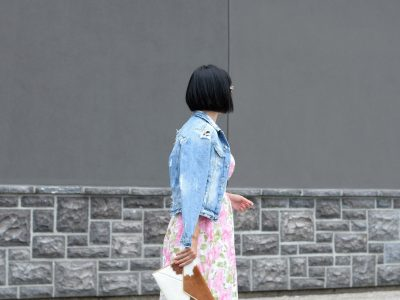 Floral Dress, Elizabeth Noel Dress, Denim Jacket, Zara Jacket Toms Sunglasses- c/o Toms, Rebecca Minkoff Clutch, Daniel Wellington watch , white Sneakers, Converse Chucks