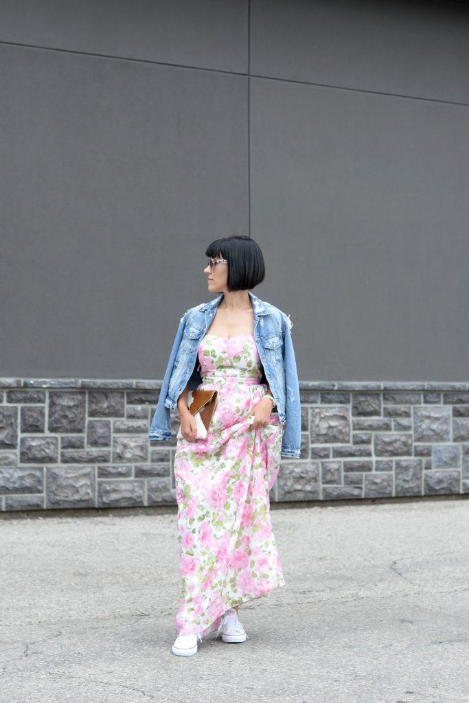 Floral Dress, Elizabeth Noel Dress, Denim Jacket, Zara Jacket Toms Sunglasses- c/o Toms, Rebecca Minkoff Clutch, Daniel Wellington watch , white Sneakers, Converse Chucks