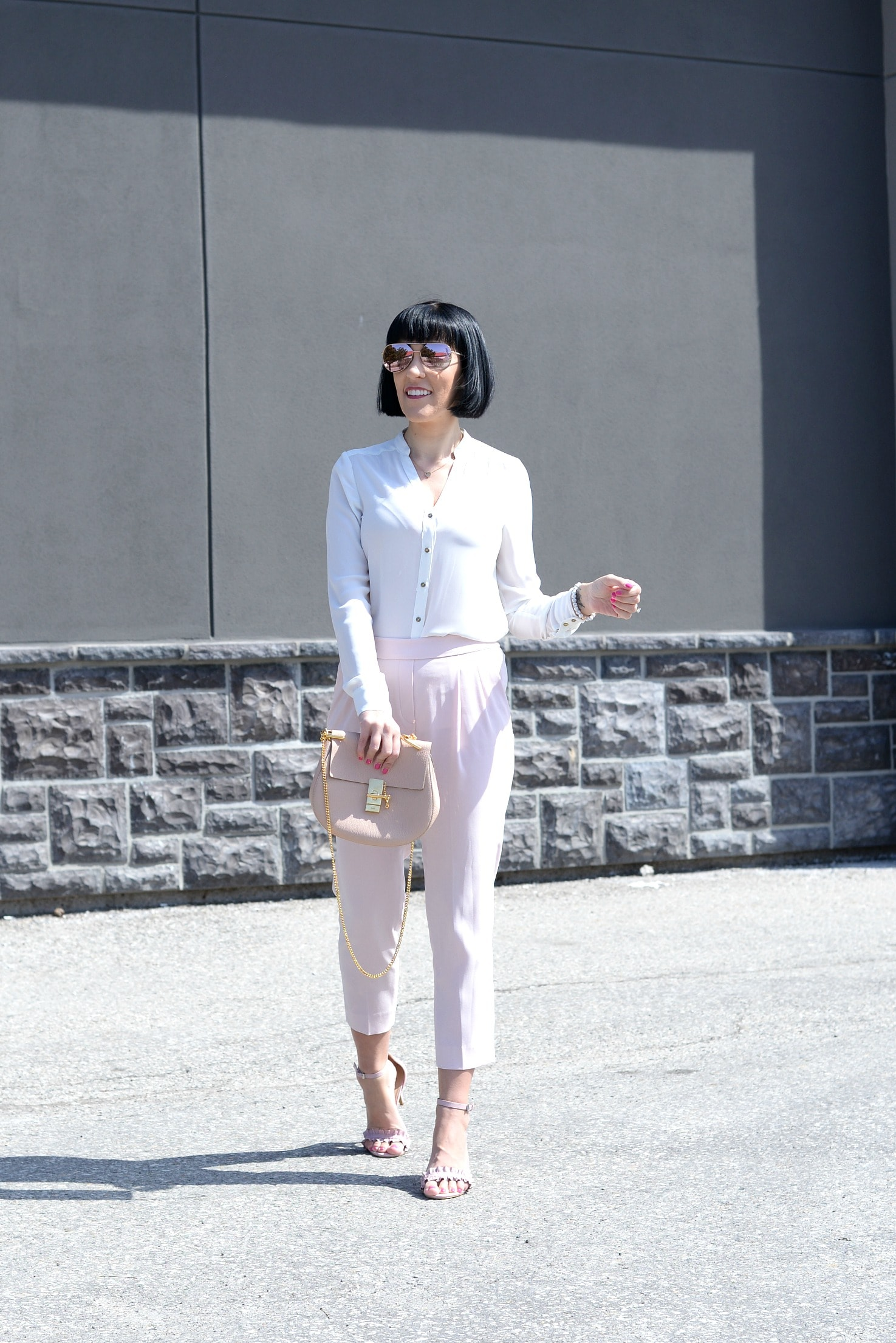 Pink pants, Aritzia pants, white blouse, pink sandals, joe fresh shoes, joe fresh sandals, Chloé Purse, gold heart necklace, Klasse 14 Watch, pink watch