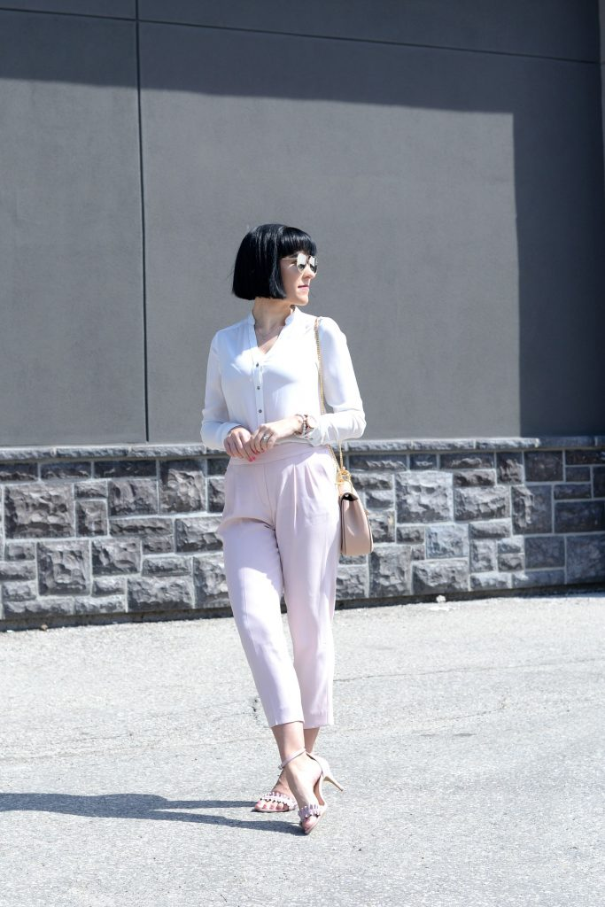 Pink pants, Aritzia pants, white blouse, pink sandals, joe fresh shoes, joe fresh sandals, Chloé Purse, gold heart necklace, Klasse 14 Watch, pink watch