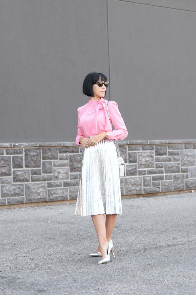 What I Wore- Blouse- Chic Wish, Skirt- Aritzia, Purse- Rebecca Minkoff, Pumps- Target,