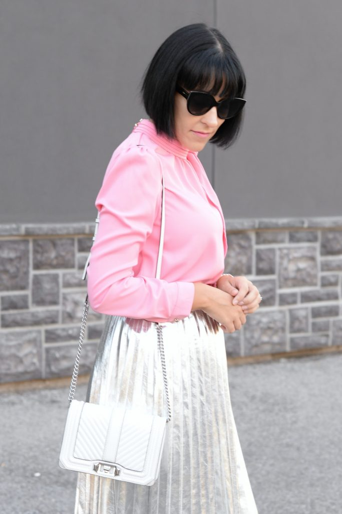 What I Wore- Blouse- Chic Wish, Skirt- Aritzia, Purse- Rebecca Minkoff, Pumps- Target,