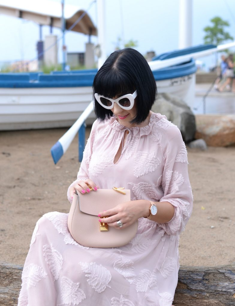 Pink Wilfred, Zero UV Sunglasses, Fossil necklace, Chloé Drew Purse, Kate Spade Bracelet, Victoria Emerson Watch, Wittner heels, grand bend