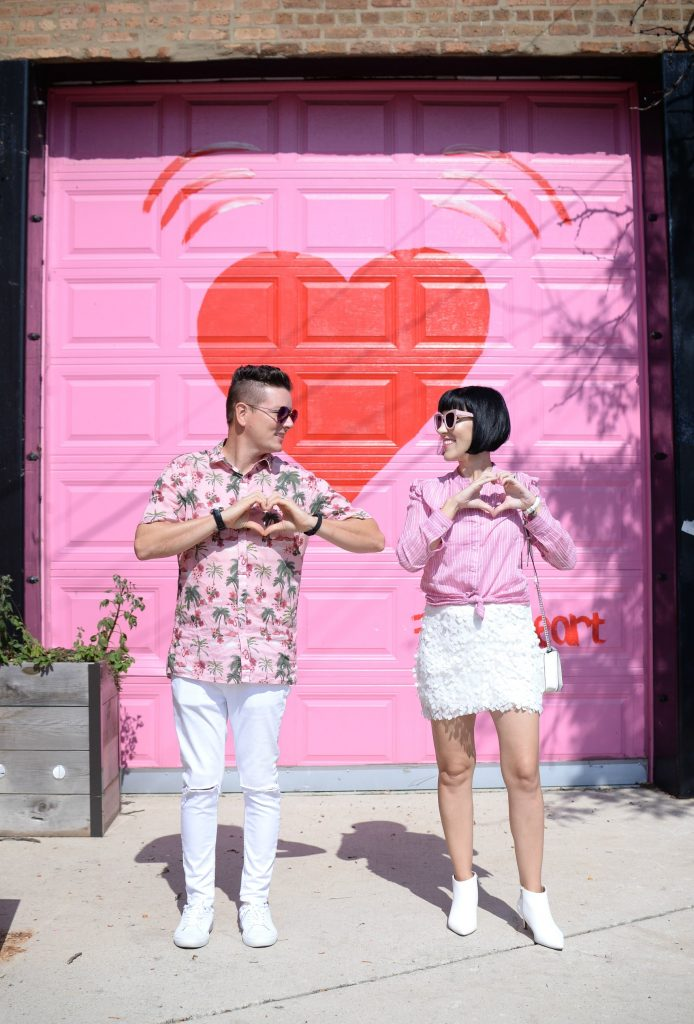 Pink and Red Heart Wall at 2214 N. Elston Ave.