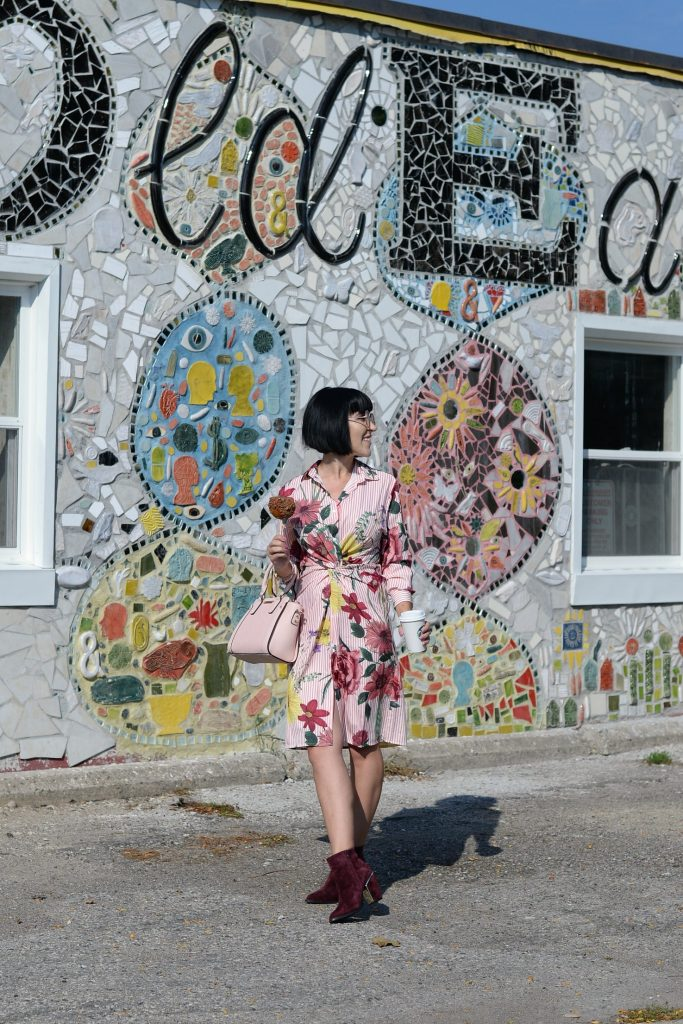 How to Wear a Floral Dress All Year Long, floral dress, chic wish dress, chicwish dress, how to style florals in fall, how to wear florals, how to wear a floral dress in winter, aldo booties, poppy & peonies