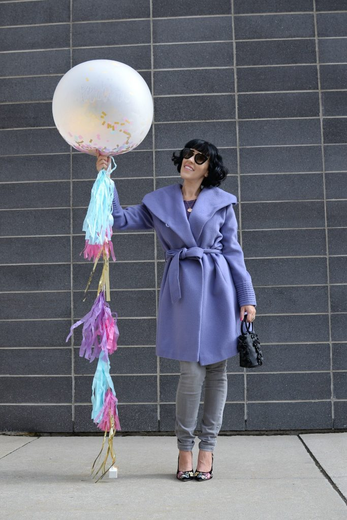 how to style a winter coat, how to pick an investment winter coat, Sentaler Winter Coat, Channers London, Karen Walker Sunglasses, Victoria Emerson Necklace, Ela Purse, Ron White Pumps, Purple Winter Coat, Sentaler Jacket