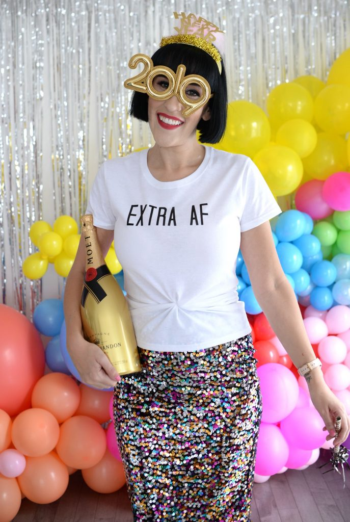 5 Things I've leaving in 2018, new years eve outfit, new year eve look, Zink Made tee, Extra AF tee, sparkly skirt