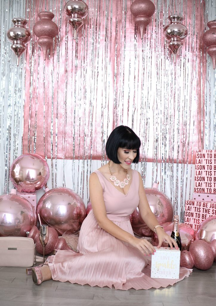 Pink party dress, perfect holiday dress, banana republic dress, Christmas party dress, how to style a fancy dress, le chateau shoes, le chateau style, Christian paul watch, Canadian fashion blogger, London Ontario blogger