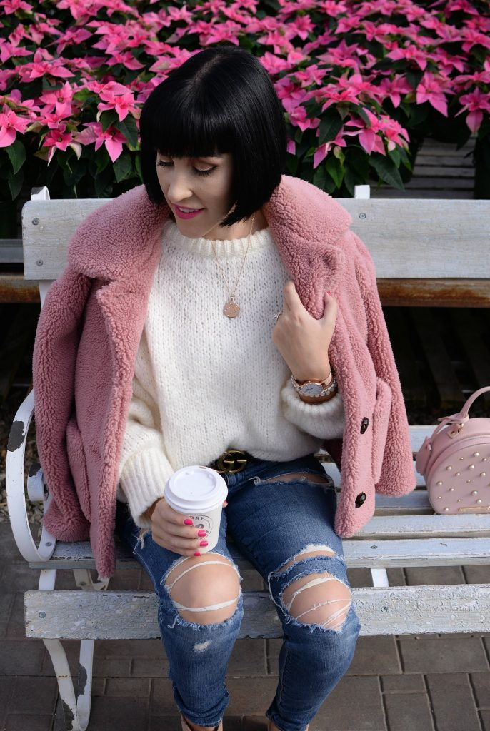 Pink Teddy Bear Coat, how to style a teddy bear coat, Pink zara jacket, how to wear a pink coat, how to style a pink jacket, White Zara Sweater, Victoria Emerson watch, Gucci Belt, Poppy & Peonies Purse, Vitoria Emerson necklace, Joes Jeans, Jeffrey Campbell Pearl Booties