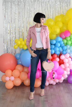 The Pink Millennial, rebranding, pink jacket, skinny jeans, canadain blogger