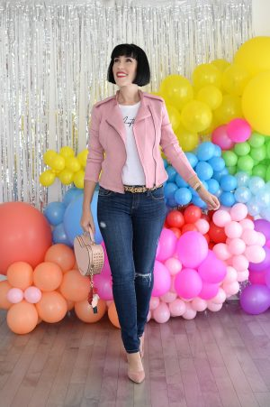 The Pink Millennial, rebranding, pink jacket, skinny jeans, canadain blogger