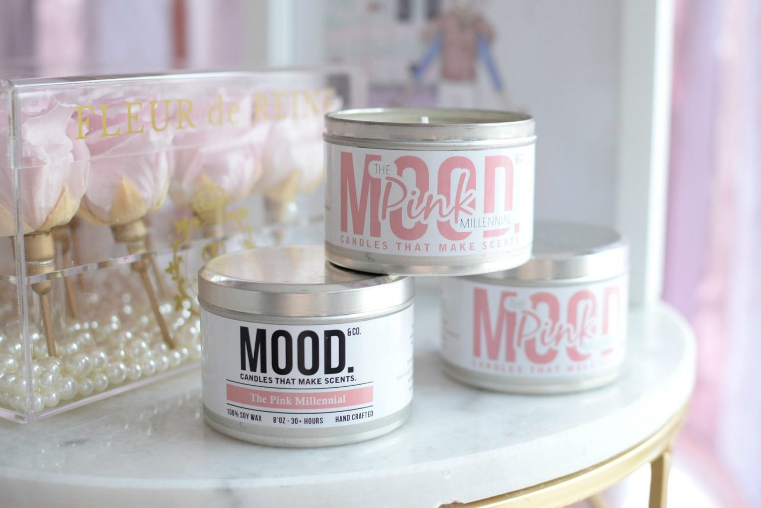 The Pink Millennial Candle made by Mood & Co. in London, ON