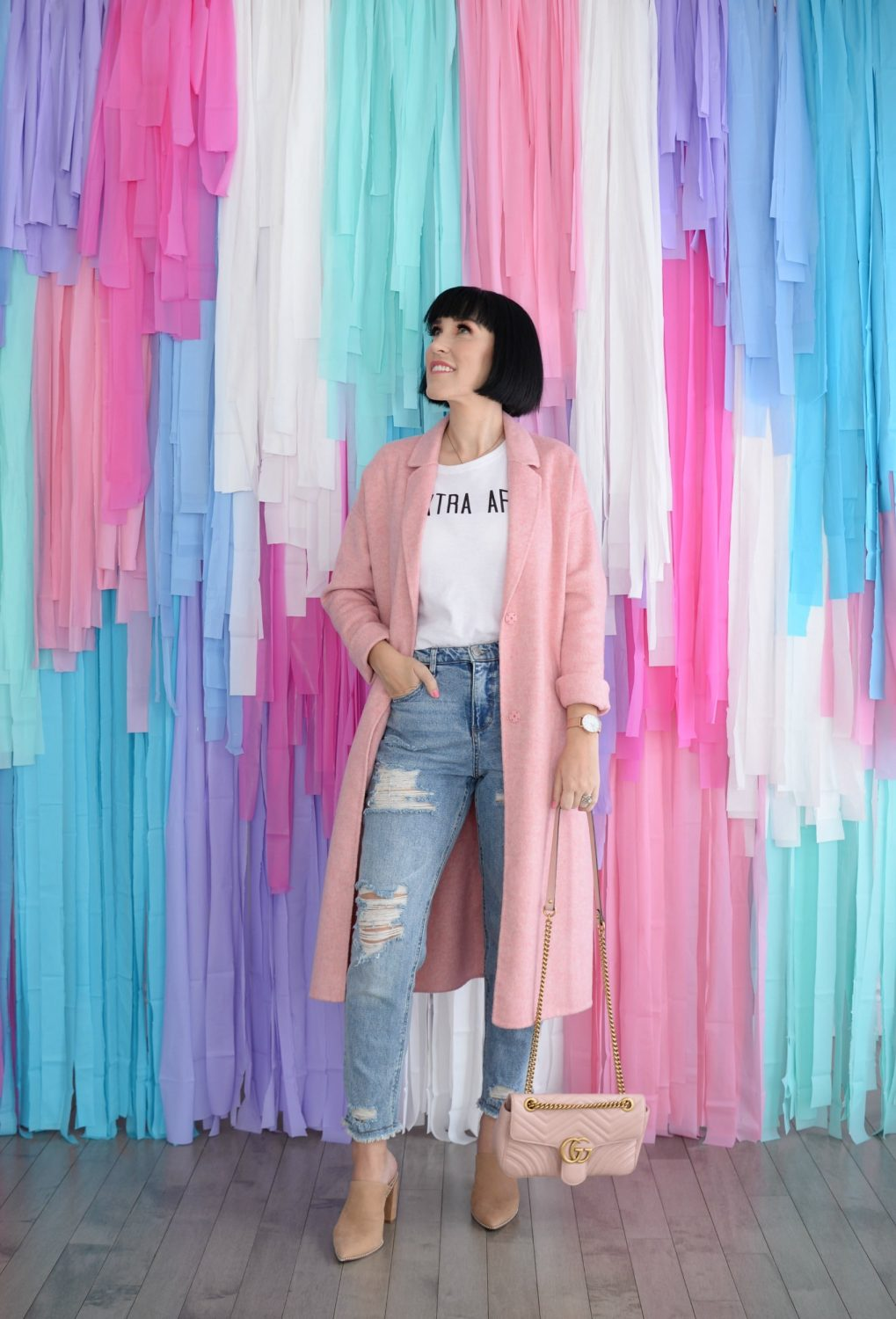 Tassel Wall, Pink Table Cloth Wall, Pink Winter Coat