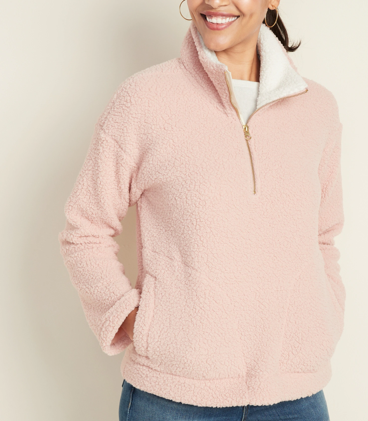 Old Navy Plush Sherpa 1/4-Zip Pullover