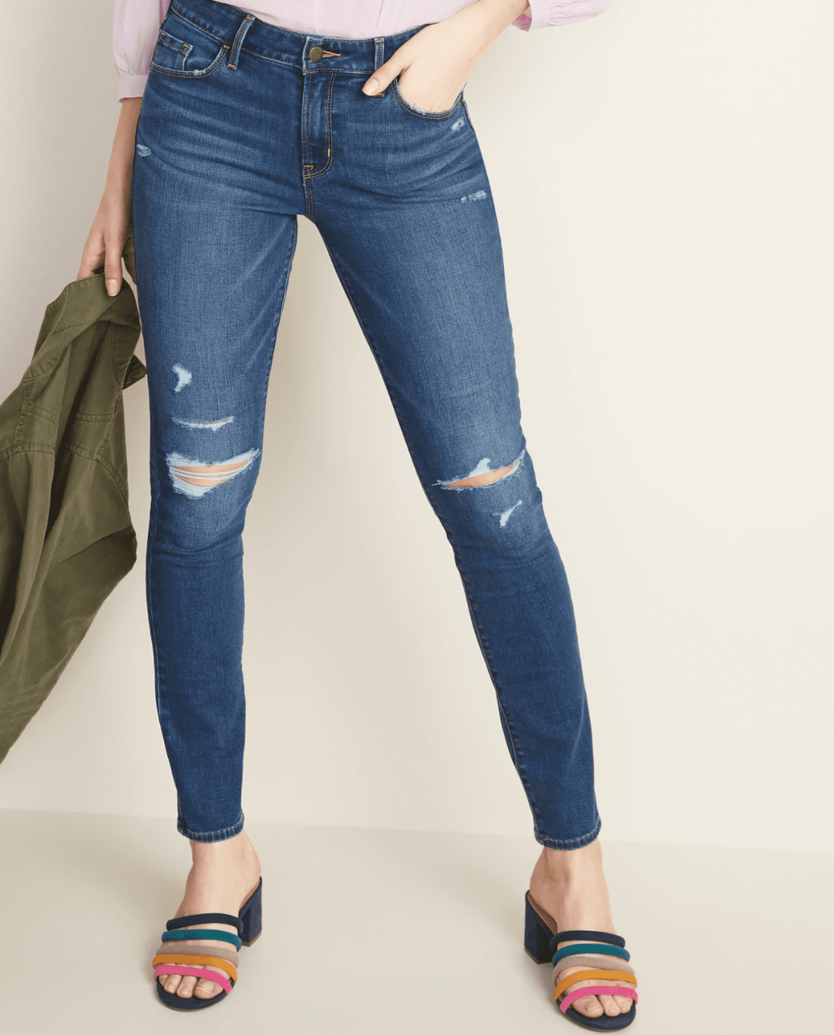 Old Navy Mid-Rise Distressed Pop Icon Skinny Jeans